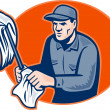Stock Photo: Janitor Cleaner With Mop Wiping Retro