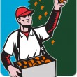 Stock Photo: Fruit Picker With Basket Retro Woodcut
