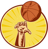 Basketball Player Hand Catching Throwing Ball — Stock Photo