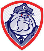 Cartoon Police Dog Watchdog Bulldog Shield — Stock Photo