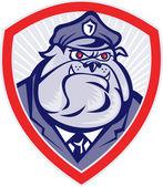 Cartoon Police Dog Watchdog Bulldog Shield — Stock Photo