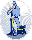 Janitor Cleaner With Mop Cleaning Retro — Stock Photo