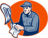 Janitor Cleaner With Mop Wiping Retro — 图库照片