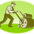 groundsman groundskeeper lawn roller — Stock Photo