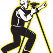 Foto Stock: Surveyor Engineer Theodolite Total Station