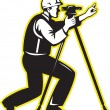 Surveyor Engineer Theodolite Total Station - Stock Photo