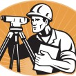Surveyor Engineer Theodolite Total Station — Zdjęcie stockowe