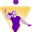 Volleyball Player Serve Ball Front — Stock Photo