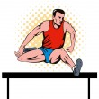Track and field athlete jumping hurdle — Stock Photo #8910389