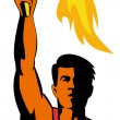 Athlete with flaming torch — Stock Photo #8910436