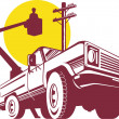 Stock Photo: Bucket pick-up truck with cherry picker