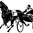 Horse and jockey harness racing — Stockfoto