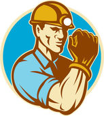Coal Miner With Clenched Fist Retro — Stock Photo