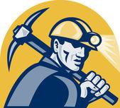 煤的矿工与拿斧头复古木刻 — 图库照片