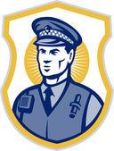 Officier de la garde de sécurité policier avec bouclier — Photo