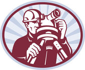 Surveyor Engineer Theodolite Total Station — 图库照片