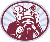 Surveyor ingenjör teodolit totalstation — Stockfoto