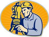Surveyor Engineer Theodolite Total Station — Stock Photo