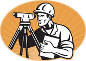 Surveyor Engineer Theodolite Total Station — Stok fotoğraf