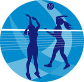 Volleyball Player Spiking Blocking Ball — Stock Photo