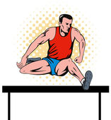 Track and field athlete jumping hurdle — Stock Photo