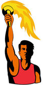 Athlete with flaming torch — Stock Photo