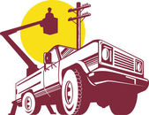 Bucket pick-up truck with cherry picker — Stock Photo