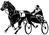 Horse and jockey harness racing — Stock Photo
