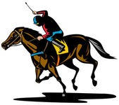 Koń i dżokej wyścigi — Zdjęcie stockowe