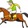 Cartoon Jockey And Horse Racing Side — Stock Photo