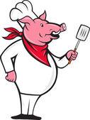 Chef de cerdo salvaje del cerdo con dibujos animados espátula — Foto de Stock