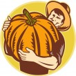 Organic Farmer With Giant Pumpkin — Stock Vector