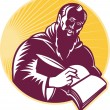 Royalty-Free Stock Vektorfiler: Saint Jerome Writing Scroll Retro Woodcut