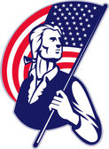 Patriot Minuteman With American Stars and Stripes Flag — Stock Vector