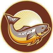 Trout Fish Jumping Sunburst Circle — Stock Vector