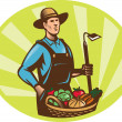 Farmer With Garden Hoe And Basket Crop Harvest — Stock vektor