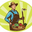 Stock Vector: Farmer With Garden Hoe And Basket Crop Harvest
