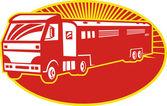 Horse Transport Truck Trailer Retro — Stock Vector
