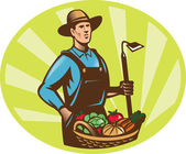 Farmer With Garden Hoe And Basket Crop Harvest — Vecteur