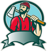 Lumberjack Forester With Axe — Stock Vector