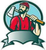 Forester de lenhador com machado — Vetorial Stock