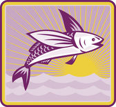 Flying Fish At Sea Oceam Square Retro — Stock Vector