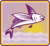 Flying Fish At Sea Oceam Square Retro — Stock Vector