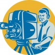 Royalty-Free Stock Vector Image: Film  Crew TV Cameraman With Movie Camera Retro
