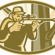 Hunter Shooter Aiming Telescope Rifle Retro - Stock Vector