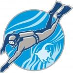 Scuba Diver Diving Retro — Stock Vector #9632928