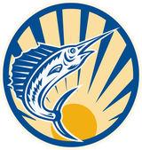 Blue Marlin Jumping Circle Retro — Stock Vector