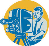 Film Crew TV Cameraman With Movie Camera Retro — Stock Vector