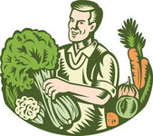 Organic Farmer Green Grocer With Vegetables Retro — Stock Vector
