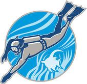 Scuba Diver Diving Retro — Stock Vector